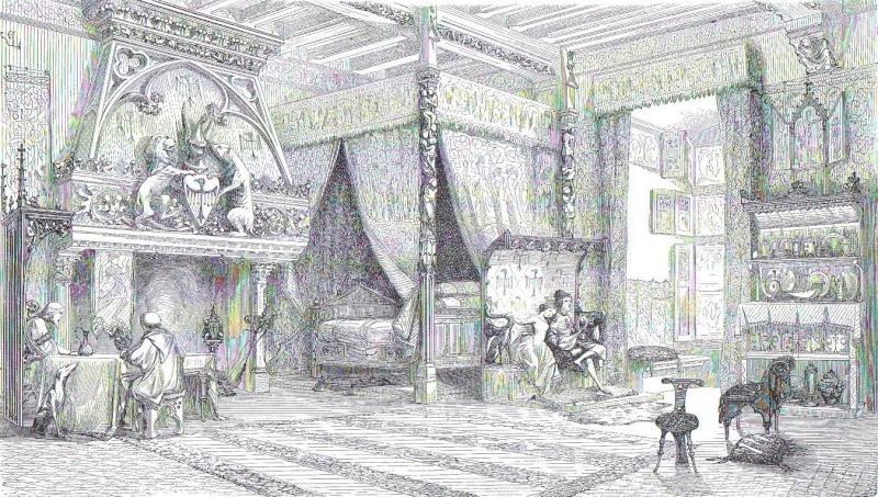 Chambre de château du commencement du XIVe siècle