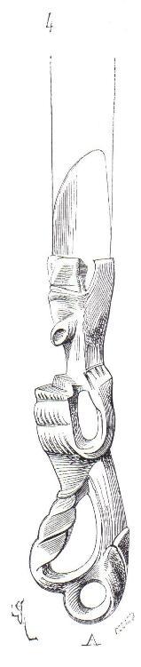 Couteau (non fermant) dont la lame et le manche sont de bronze