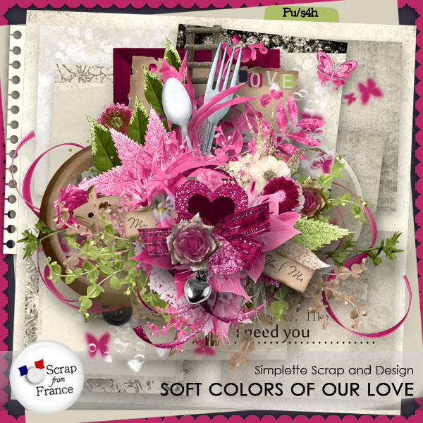 simplette kit soft colors of our love scrap from france exclu